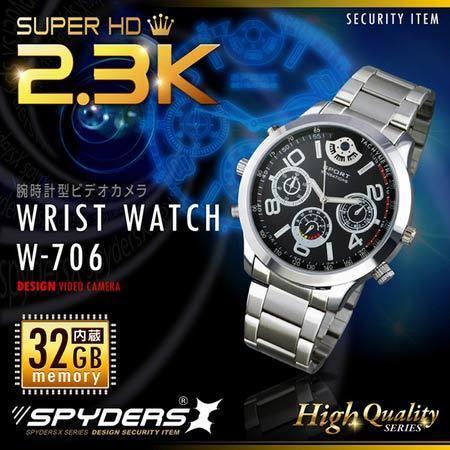 【超小型カメラ】【小型ビデオカメラ】 腕時計型スパイカメラ スパイダーズX (W-706) SUPERHD 1400万画素 60FPS 32GB内蔵